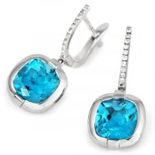 18ct White Gold Blue Topaz & Diamond Huggy Earrings