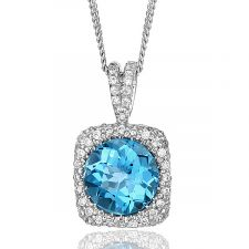 18ct White Gold Blue Topaz & Diamond Neckalce