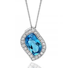 18ct White Gold  Diamond & Gem Set Necklace