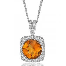 18ct White Gold Citrine & Diamond Necklace