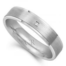 Mens Flat Court Diamond Set Wedding Ring 0.02ct