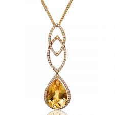 18ct Yellow Gold Pear Shaped Citrine & Diamond Necklace