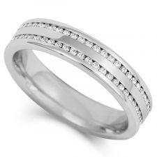 4mm Double Row Channel Set Diamond Ring 0.25ct - 0.50ct