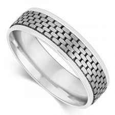 6mm Gents Laser Patterned Wedding Ring