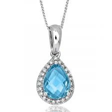 18ct White Gold Blue Topaz & Diamond Necklace