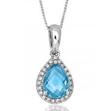 18ct White Gold Pear Shape Blue Topaz & Diamond Necklace