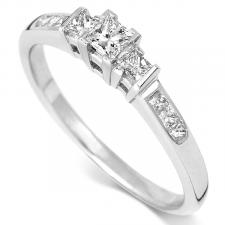 Princess Cut 3 Stone Diamond Ring 0.33ct