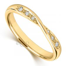 18ct Yellow Gold Diamond Bow Wedding Ring 0.06ct