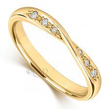 9ct Yellow Gold Diamond Bow Wedding Ring 0.06ct