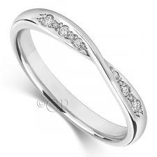 18ct White Gold Diamond Bow Wedding Ring 0.06ct