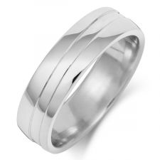 Court Wedding Ring With Double Curved Grooves