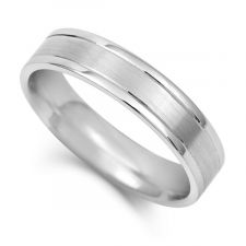 Flat Court Wedding Ring With Off Set V Grooves