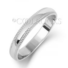 18ct White Gold 3mm D-Shape Millgrain Wedding Ring WQ183W