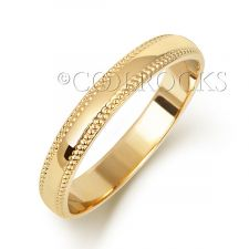 18ct Yellow Gold 3mm D Shape Millgrain Wedding Ring WQ183M