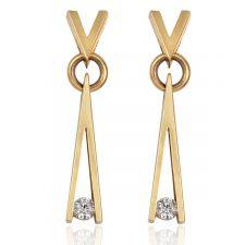 "18ct ""V"" Yellow Gold Diamond Earring 0.10ct"