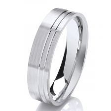 Flat Court Wedding Ring & 2 Off Set Grooves