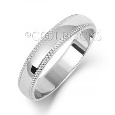 9ct White Gold 4mm D Shape Millgrain Wedding Ring W184WM