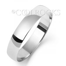 9ct White Gold 4mm D Shape Wedding Ring W104WM