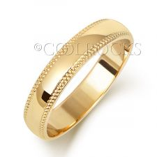 18ct Yellow Gold 4mm D Shape Millgrain Wedding Ring WQ184M