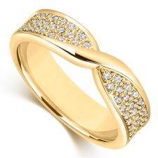 9ct Yellow Gold 4mm Bow Wedding Ring 0.34ct