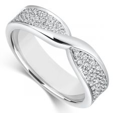 9ct White Gold 4mm Bow Wedding Ring 0.34ct