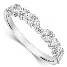 9ct White Gold Marquise & Round Diamond Ring 0.35ct
