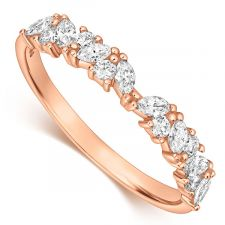 9ct Rose Gold Marquise & Round Diamond Ring 0.35ct