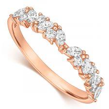 18ct Rose Gold Marquise & Round Diamond Ring 0.35ct