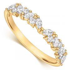 9ct Yellow Gold Marquise & Round Diamond Ring 0.35ct