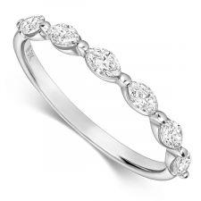 18ct White Gold Marquise Diamond Ring 0.48ct