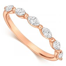 18ct Rose Gold Marquise Diamond Ring 0.48ct