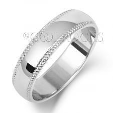 18ct White Gold 5mm D-Shape Millgrain Wedding Ring WQ185W