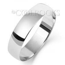 9ct White Gold 5mm D Shape Wedding Ring W105WL