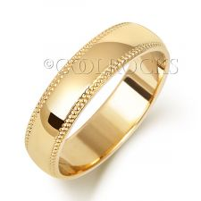 18ct Yellow Gold 5mm D Shape Millgrain Wedding Ring WQ185L