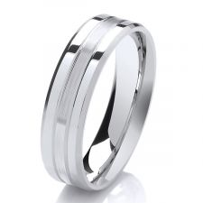 6mm Bevelled Court Wedding Ring Polished & Satin Finish