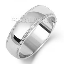 9ct White Gold 6mm D Shape Millgrain Wedding Ring W186WM