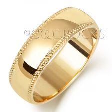 18ct Yellow Gold 6mm D Shape Millgrain Wedding Ring WQ186M
