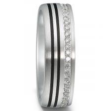 Palladium & Carbon Fibre Diamond Ring 0.20ct