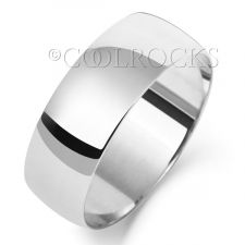 9ct White Gold 7mm D Shape Wedding Ring W107WM