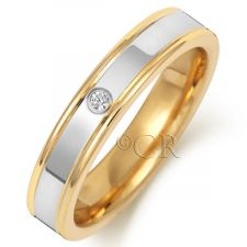 2 Colour Flat Court Diamond Wedding Ring