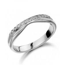 9ct White Gold Diamond Slight V Shape Ring 0.10ct