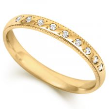 18ct Yellow Gold 3mm Diamond Set Wedding Ring 0.09ct