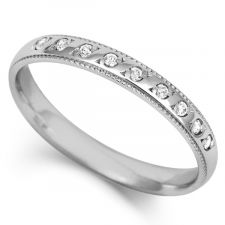 Platinum 3mm Diamond Set Wedding Ring 0.09ct