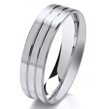 6mm Flat Court Satin Wedding Ring With 2 V Grooves