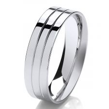 6mm Flat Court Polished Wedding Ring With 2 V Grooves
