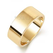 9ct Yellow Gold 8mm Flat Court Shape Wedding Ring W128M
