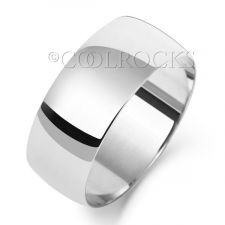 9ct White Gold 8mm D Shape Wedding Ring W108WM