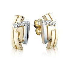 18ct Yellow & White Gold Diamond Earrings 0.06ct