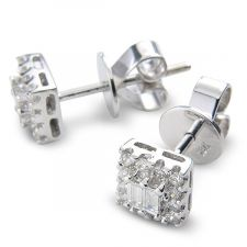18ct White Gold Baguette & Brilliant Cut Diamond Earrings 0.42ct