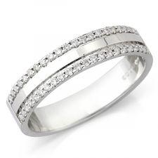 9ct White Gold Micro Set Diamond Ring 0.21ct
